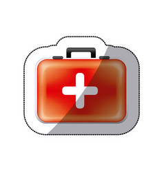 Sticker color suitcase with blood donation kit vector