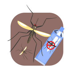 Mosquito insect and mosquito repellent spray blue vector