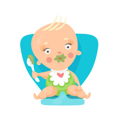 Adorable cartoon baby sitting on blue chair and vector