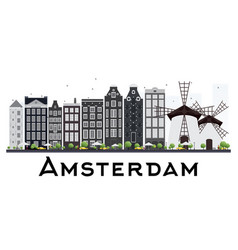 Amsterdam holland skyline with gray buildings vector