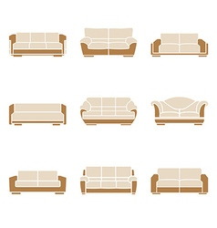 Set of stylish sofas vector