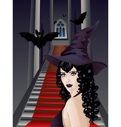Gothic stairs and witch2 vector