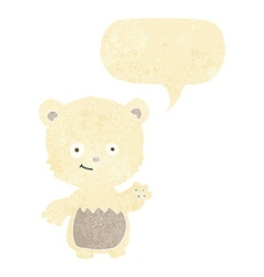Cartoon little polar bear waving with speech vector