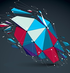 Dimensional colorful wireframe object demolished vector