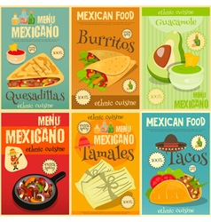 Mexican food menu mini posters vector