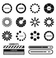 Progress bar and loading icons set in simple style vector