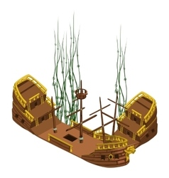 Remains of pirate ship with algae isolated vector image