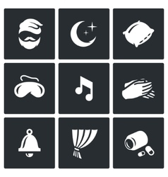 Set of sleep and rest icons man night vector