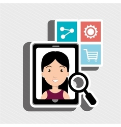 Smarthphone and people isolated icon design vector