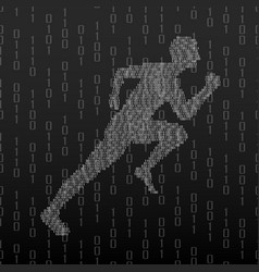 abstract silhouette running man from binary vector image