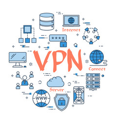 Blue round vpn concept vector