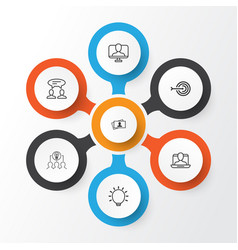 Business management icons set collection of vector