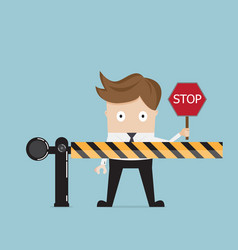 businessman standing at road barrier vector image