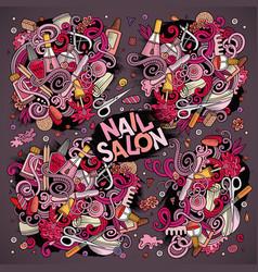 Cartoon set of nail salon theme doodles vector