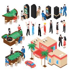 casino isometric icons set vector image vector image