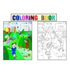 children coloring color black and white game vector image
