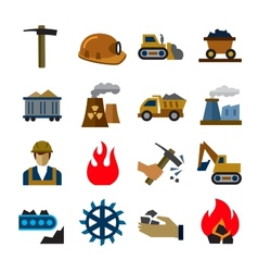 Coal mining industry icons vector