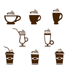 coffee mug icons vector image vector image