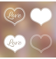 Collection of White Hearts on Blur Background for vector image vector image