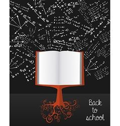 Education back to school book tree over chalkboard vector