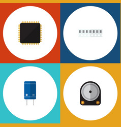 Flat icon electronics set of transistor memory vector