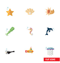 Flat icon nature set of periscope octopus conch vector