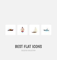 flat icon vessel set of delivery tanker sailboat vector image