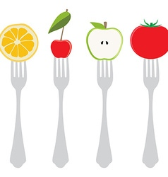 Food on forks vector image vector image