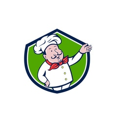 French chef welcome greeting crest cartoon vector
