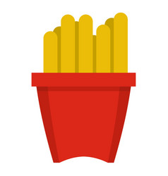 french fries in a red box icon isolated vector image