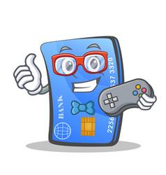 Gamer credit card character cartoon vector
