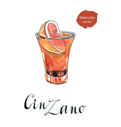 glass of cinzano with red orange vector image