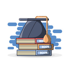 Graduation cap on stack of books vector