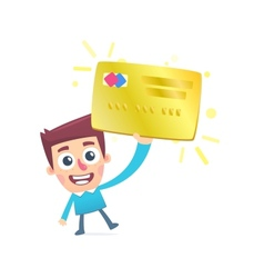 Happy owner of a gold plastic card vector image
