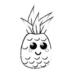 Kawaii pineapple fruit icon vector