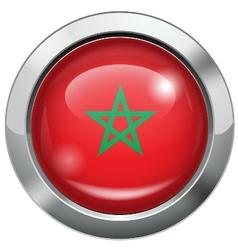 Morocco flag metal button vector image vector image