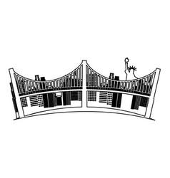 new york bridge isolated icon vector image vector image