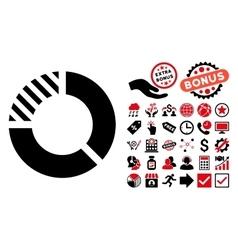 Pie chart flat icon with bonus vector