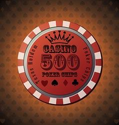 Poker chip 500 on orange background vector