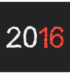 Red and white polygonal 2016 year number vector