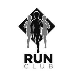 Run club icon of jogging people silhouettes vector