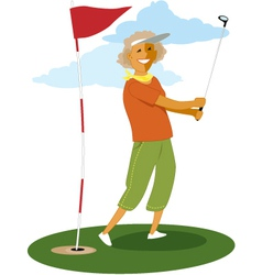 Senior female golfer vector