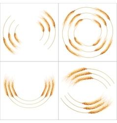 Set of 4 detailed wheat ears eps 10 vector