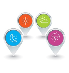 set of map pointers with weather icons vector image