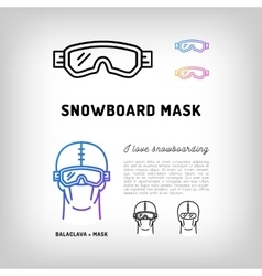 Snowboard mask Hockey and ski goggles Winter vector image vector image