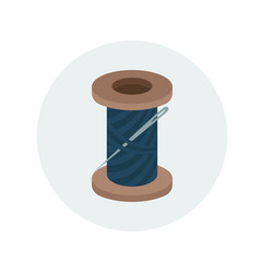 Spool of navy blue thread with needle vector