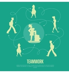 Teamwork banner with people silhouettes vector image vector image