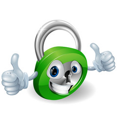 Thumbs up padlock cartoon character vector