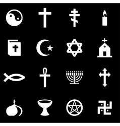 White religion icon set vector