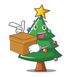 With box christmas tree character cartoon vector